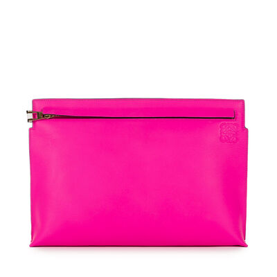 LOEWE T Pouch Shocking Pink/White front