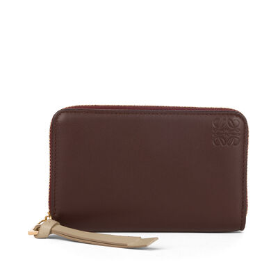 LOEWE Zip Card Holder Chocolate/Burgundy front