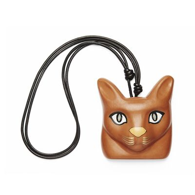 LOEWE Cat Face Necklace Tan front