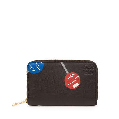 LOEWE Lollipops Zip Card Holder Black front