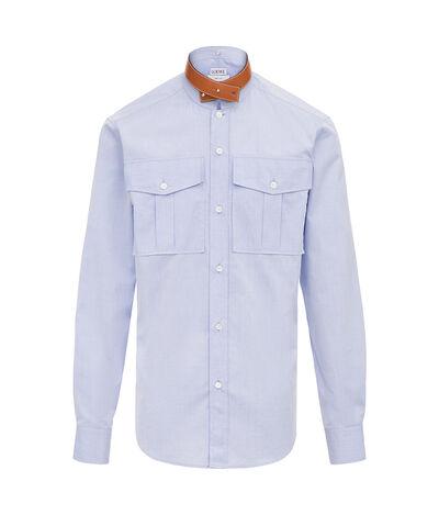 LOEWE Leather Collar Shirt Light Blue front