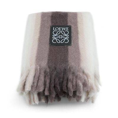 LOEWE Mohair Stripes Blanket Taupe front