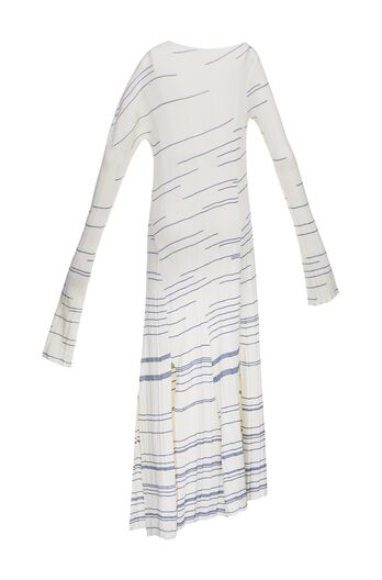 LOEWE Long Striped Knit Dress Off-White/Blue all