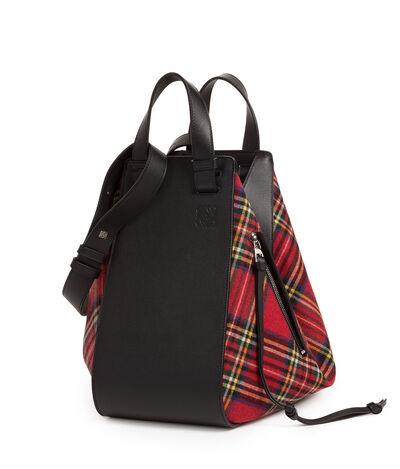 LOEWE Hammock Tartan Bag Black/Red Tartan front