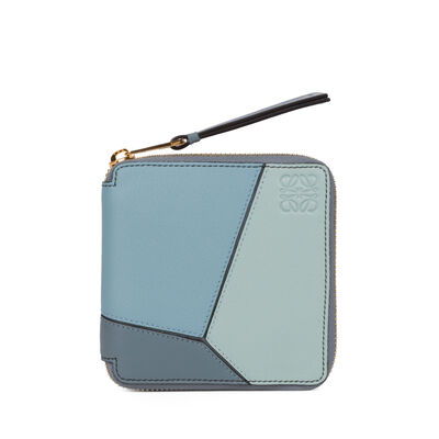 LOEWE Puzzle Small Wallet Aqua/Light Blue/Stone Blue front
