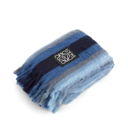 LOEWE Mohair Stripes Blanket Blue Denim all