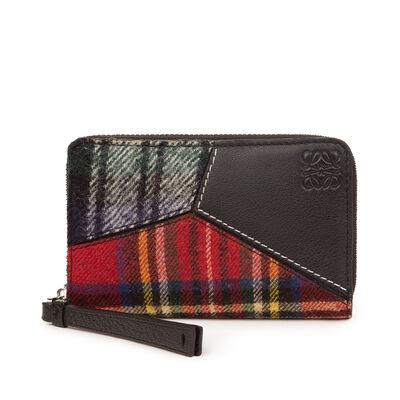 LOEWE Puzzle Zip Card Holder Black/Multicolor Tartan front