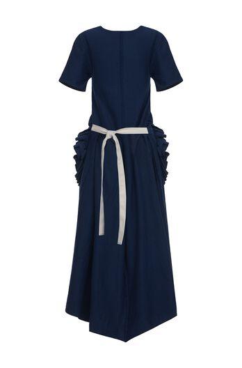 LOEWE T-Shirt Dress Flower Pockets Navy Blue all