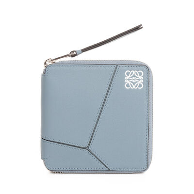 LOEWE Puzzle Small Wallet Stone Blue front