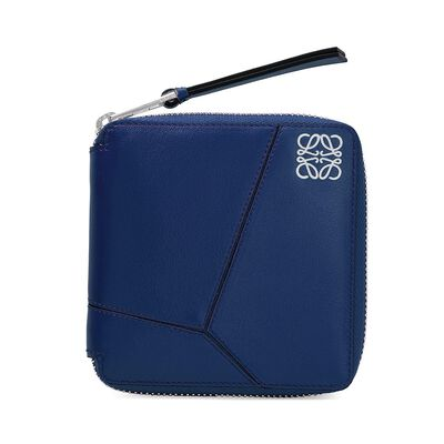 LOEWE Puzzle Small Wallet ネイビーブルー front