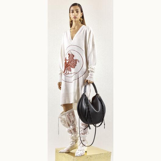 LOEWE Vneck Sweater Dress Greek Off-White/Brown all