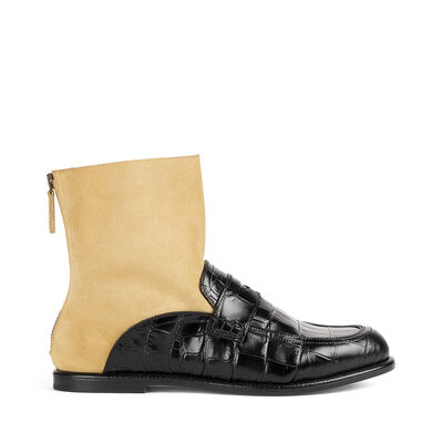 LOEWE Sock Boot Moccassin Negro/Oro front