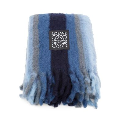 LOEWE Mohair Stripes Blanket Blue Denim front