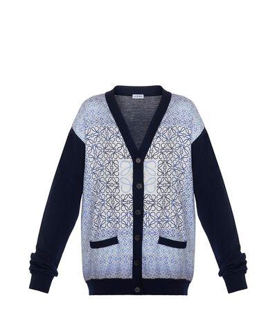 LOEWE Anagram Silk Cardigan Navy Blue front