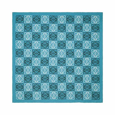 LOEWE 90X90 Anagram All Over Scarf Blue/White front
