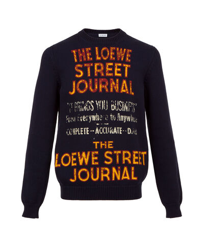 LOEWE Sweater Loewe Street Journal Navy Blue front