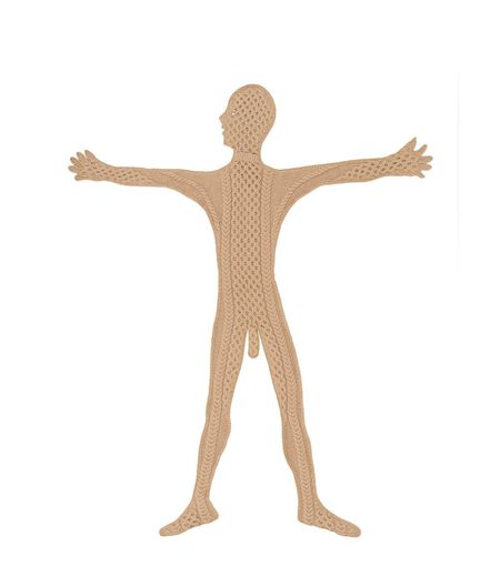 Man Scarf Front Arms Up