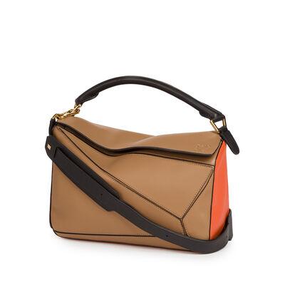 LOEWE Puzzle Bag Mink Color/Coral/Black front