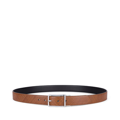 LOEWE Formal Belt 3.2Cm Adj/Rev Dark Brown/Black/Palladium front