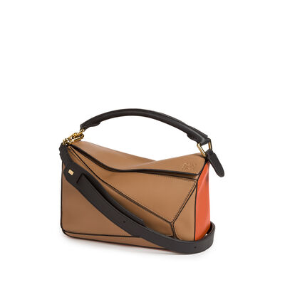 LOEWE Puzzle Small Bag Mink Color/Coral/Black front