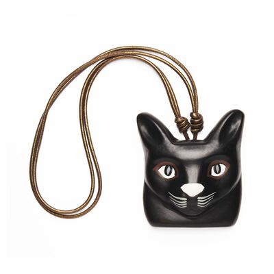 LOEWE Cat Face Necklace Black front