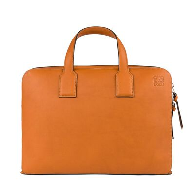 LOEWE Goya Double Briefcase Tan front