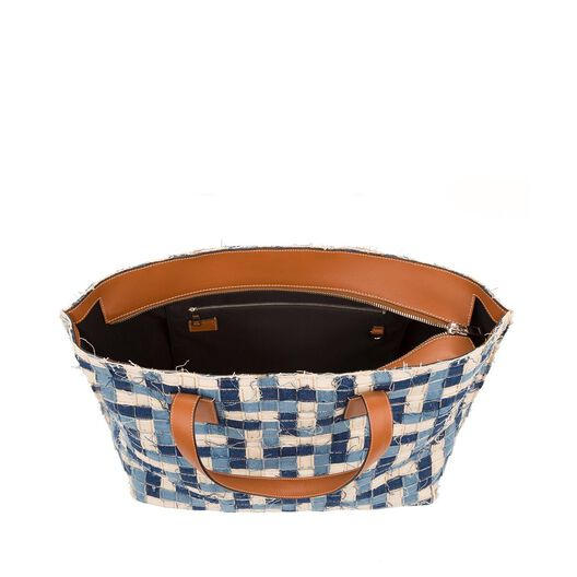 LOEWE T Tote Bag Blue Multitone/Tan all