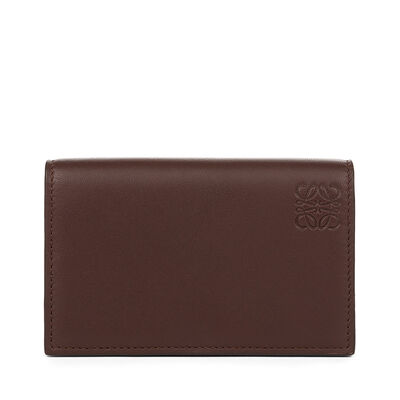 LOEWE Business Card Holder Chocolate/Burgundy front