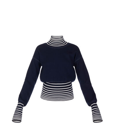 LOEWE High Neck Sweater Stripes Navy/White front