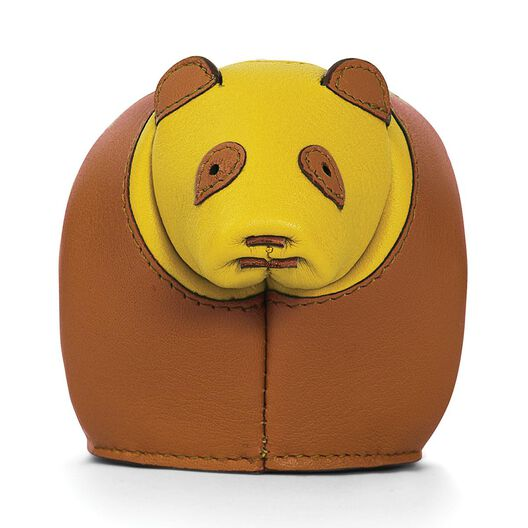 LOEWE Panda Coin Purse Tan/Yellow all