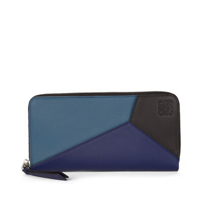LOEWE Puzzle Zip Around Wallet Indigo/Marine/Black front