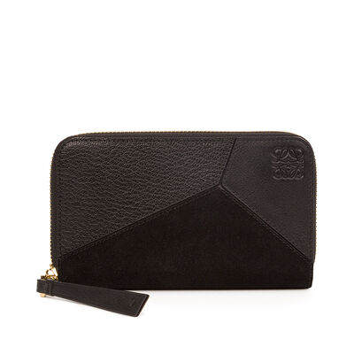 LOEWE Puzzle Med. Zip Around Wallet Black front