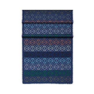 LOEWE 70X200 Anagram In Lines Scarf indigo blue front