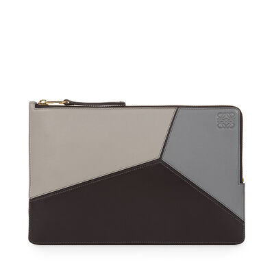 LOEWE Puzzle Flat Pouch Grey Multitone front
