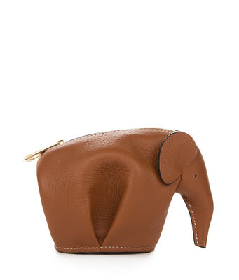 LOEWE Elephant Coin Purse Tan/White front