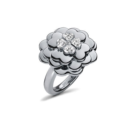 Santorini Flower Silver Plated Large Motif Ring, , hires
