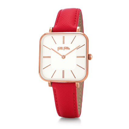 Timeless Bonds Medium Square Case Leather Watch , Red, hires
