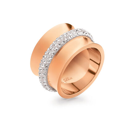 Dazzling Rose Gold Plated Clear Crystal Stone Wide Band Ring, , hires