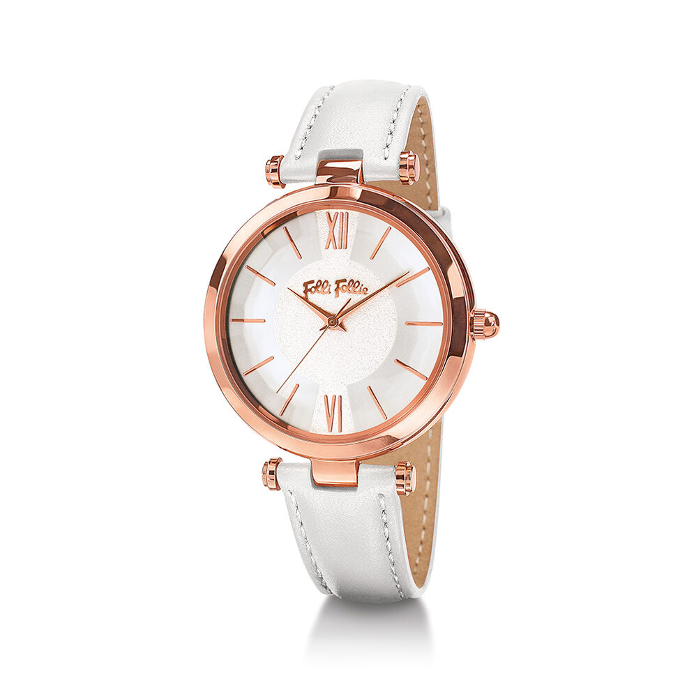 Lady Bubble Rose Gold Plated Leather Watch , White, hires