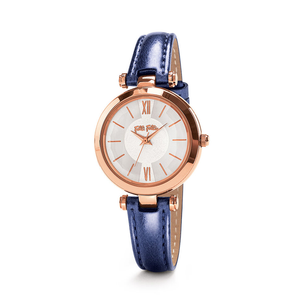 Lady Bubble Rose Gold Plated Leather Watch , Blue, hires