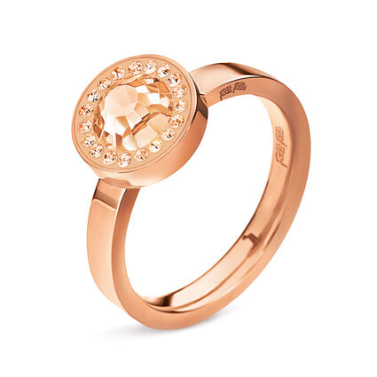 Classy Rose Gold Plated Champaign Crystal Stone Ring, , hires