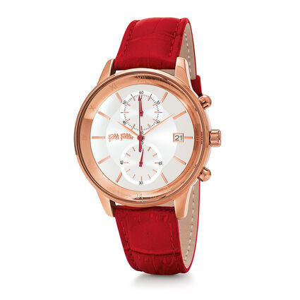 Big Moments Big Case Leather Watch , Red, hires