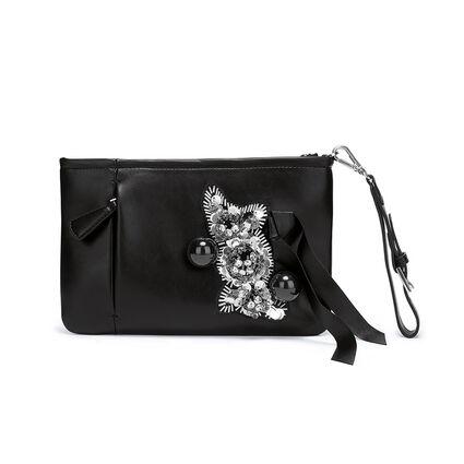 Embellished Wristlet Evening Clutch Bag, Black, hires