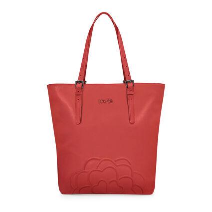 Santorini Flower Large Leather Shoulder Bag, Orange, hires