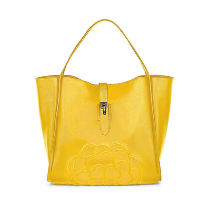 Santorini Flower Large Leather Shoulder Bag with Inner Detachable Pouch, Yellow, hires