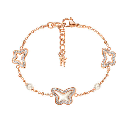 Butterfly Flair Rose Gold Plated Mother Of Pearl Bracelet, , hires