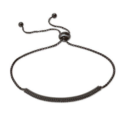 Fashionably Silver Essentials Black Rhodium Plated Ρυθμιζόμενο Βραχιόλι, , hires