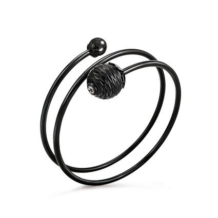 Style Pops Black Plated Bangle Bracelet, , hires