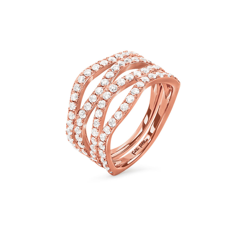 Fashionably Silver Temptation Rose Gold Plated Ring, , hires