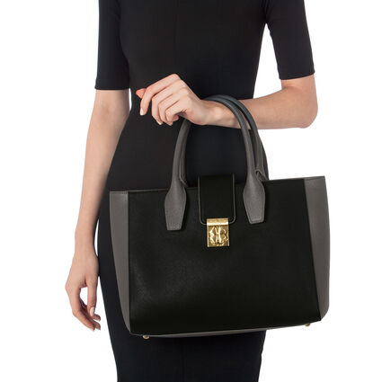 Heart4Heart Two-Tone Handbag, Black, hires
